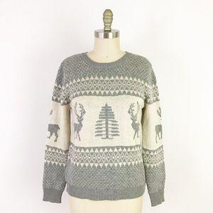 Modcloth Reindeer Christmas Gray Fair Isle Sweater
